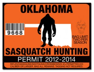 OKLAHOMA_SASQUATCH_BIGFOOT_YETI__HUNTING_PERMIT_STICKER_DECAL