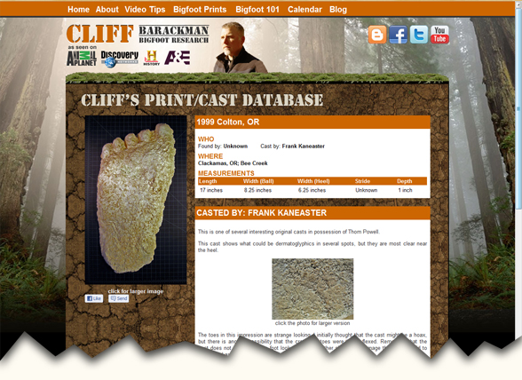 screen shot of Cliff Barackman Bigfoot Print casts Database