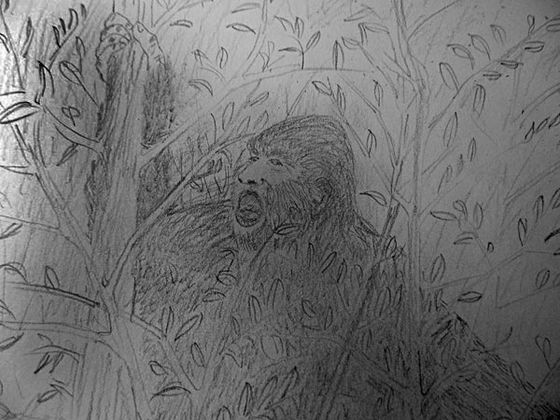 Illustration by AI An elderly couple from Kotlik heard a mysterious hollering while living at their summer fishcamp near their village. It was the strangest sound, said the man and the two suspected it came from Bigfoot, as depicted in this drawing.