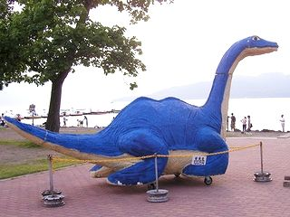 An artists model of Kusshi, the Japanese version of the Loch Ness Monster.