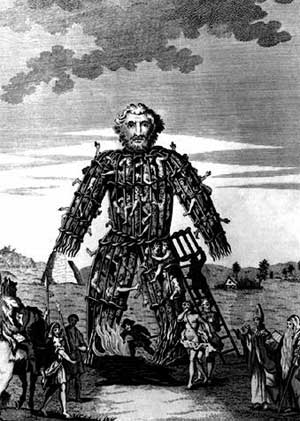 Wicker Man  burned at Beltane May Day ceremony, pagan celebration, human sacrifice, May 1st, symbolism